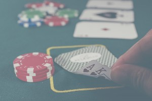 Playing cards with chips